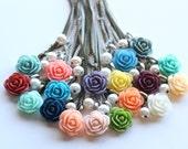 Pick Your Rose Color - Bridesmaid Necklace - Pearl Necklace - Rose Necklace - Flowergirl Necklace - Blush Wedding - Aqua Wedding - Navy Rose
