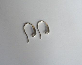 4 Solid Sterling Silver 925 Bright fancy French Earring Earwire hook 21 mm L