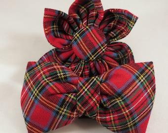Dog Flower, Dog Bow Tie, Cat Flower, Cat Bow Tie  - Tartan Plaid