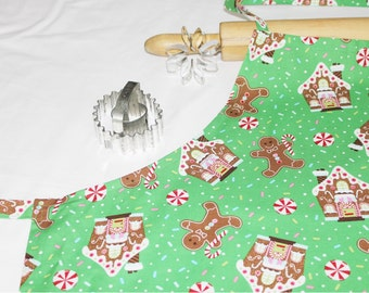 Gingerbread Houses and Cookies Adult Apron - green