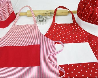 Red Christmas Dots and Stripes Child Apron and Adjustable Chef Hat Set of Two - Brother & Sister Portraits