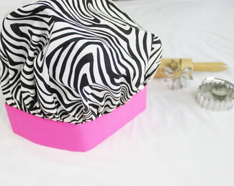 Zebra and Hot Pink Adult Chef Hat - Adjustable