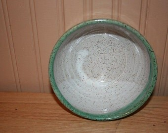Versatile pottery bowl, white and green