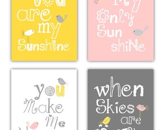 You Are My Sunshine Art // Pink Gray Yellow Art Prints // Yellow and Gray Nursery Decor //   Pink and Yellow Art Prints // Art for Girls //
