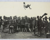 Real Photo Postcard US Army WW1 Soldiers Up in The Blanket