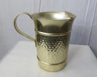 Vintage Hammered Aluminum Water Pitcher marked Italy - box bb