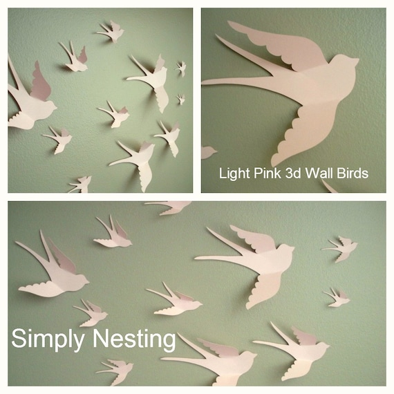 Diy wall art birds : D paper wall birds art nursery