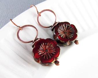 Copper Earrings Wire Wrapped Earrings Ruby Red Flower Earrings Copper Czech Picasso Wire Wrapped Jewelry Copper Jewelry Hoop Earrings