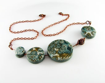 Polymer Clay Necklace Wire Wrapped Necklace Copper Necklace Polymer Clay Jewelry Wire Wrapped Jewelry Copper Wire Wrapped Polymer Clay