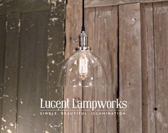 Clear Glass Dome Shade Pendant Lighting – 8 Inch