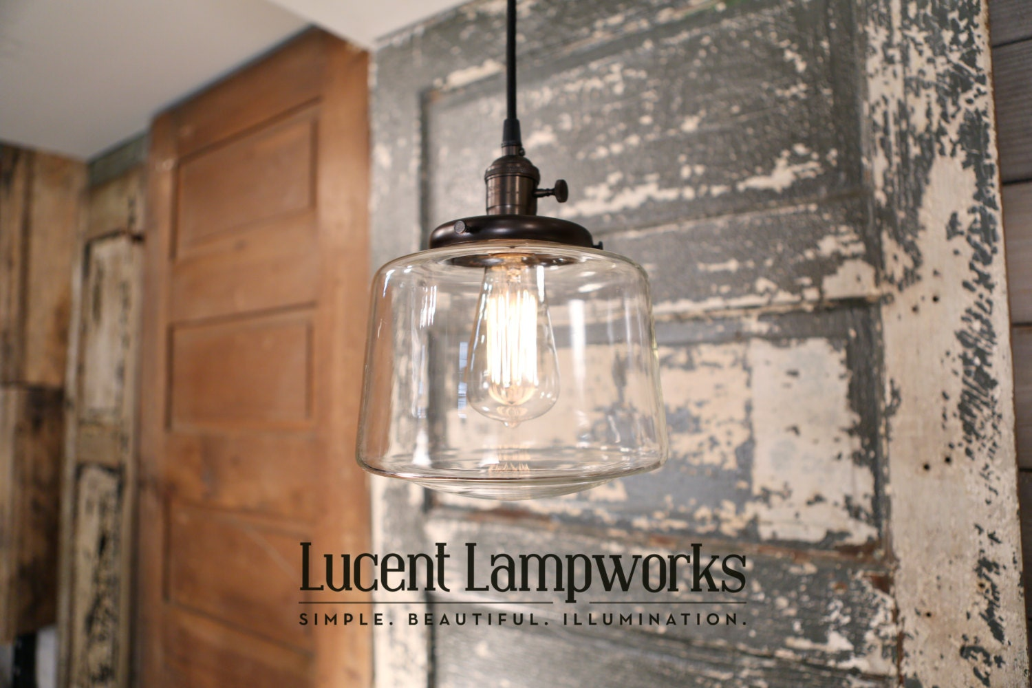 Pendant Lighting With Tapered Clear Glass Shade By
