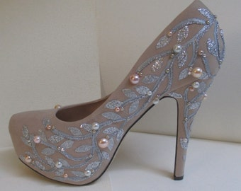 Jeweled Hand Painted Pumps Beige Pale Pink