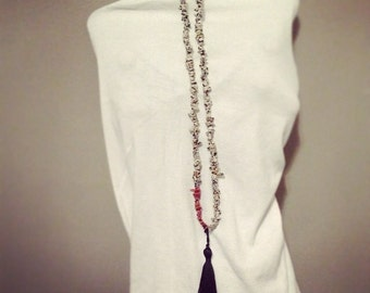 Dalmatian jasper, necklace, mala, unisex, fun, sunstone, gemstone, gift, earthy, minimal, tassel, black- Uncommon Elements