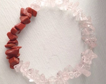 Sunstone, quartz, bracelet, stretch, ooak, gemstone, real, natural, golstone, sparkle, earthy, minimalist- Clear Works