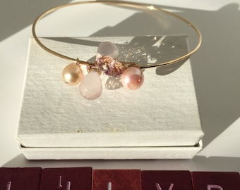PInk Quartz, Pink Pearl, Rose Quartz Gold Bangle, Gold Jewelry,  Lilyb444, Wedding, Gifts for Her,