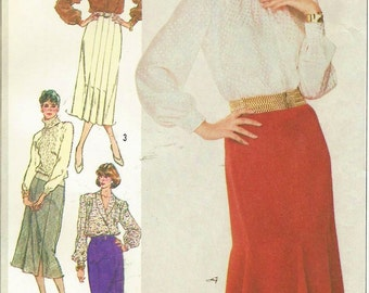 80s Womens Slim Fitting Gored Skirts Simplicity Sewing Pattern 7604 Size 14 Hip 38 UnCut Gored Skirt with Godets