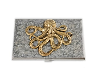 Octopus Business Card Case Inlaid in Hand Painted Enamel Steampunk Kraken Metal Wallet Silver Swirl Design Custom Colors and Personalized