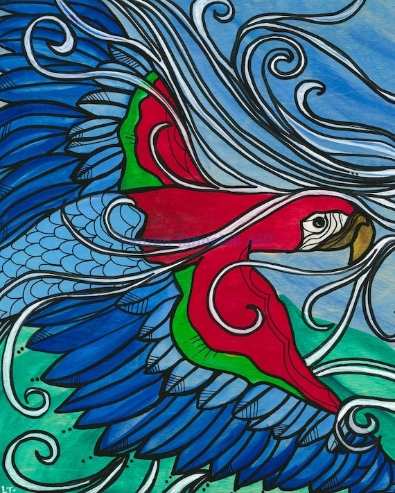 Original Painting of Wild and Free Parrot Flying through the Air by Lauren Tannehill ART