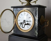 Antique French Marble and Bronze Colored Clock Napolean III French Ormolu Mantle Clock.