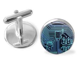 CIRCUIT BOARD Cufflinks / Computer Cuff Links  / Motherboard / Gift For Gamer / Computer related gift / Geek gift / 3 colours / Gift boxed