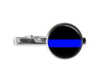 THIN BLUE LINE Tie Bar / Police Tie Clip / Personalized Gift for Him / Law Enforcement Tie Bar / Police Officer gift / Coworker / Gift boxed