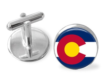 COLORADO STATE Flag Cufflinks / Colorado cuff links / The Centennial State / state flag jewelry / Groomsmen Gift / Personalized Gift for Him