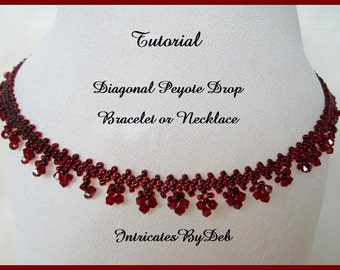 Tutorial Beaded Diagonal Peyote Drop Bracelet or Necklace - Beading Pattern, Beadweaving Instructions, Instant Download, PDF, Do It Yourself