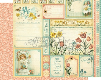 """BOTH April Pages - Graphic 45 """"Time to Flourish""""  ** See Discounted Shipping Note**"""