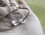 Stream Tie Bracelet . One Bracelet . Sterling Silver & Silk Tie - On .