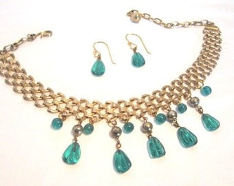 Egyptian Revival Upcycled Green Glass Bead Necklace