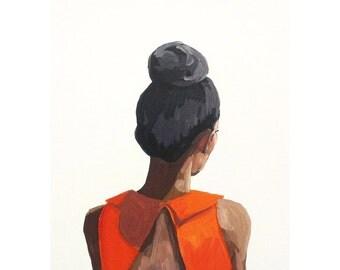 "5x7"" hair art - bun print - ""Top Knot 35"""