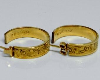Vintage Wells 14k Gold Filled Ornately Scrolled Loop Post Earrings