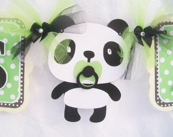 Panda baby shower banner, panda banner, boy panda banner, it's a boy banner, Green Party decor, party banner, boy baby shower, photo prop