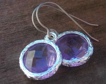Titanium Earrings, Amethyst Crystal Drops, Set in Silver with Hypoallergenic Titanium Ear Wires, February Birthstone, Purple Glass