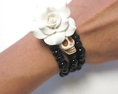 Sugar Skull Bracelet Day Of The Dead Wrap Black White Rose Wedding Jewelry Accessory