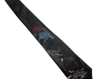 """Black Blue Red Necktie Duron of California 5"""" Wide Tie Oriental Bird"""