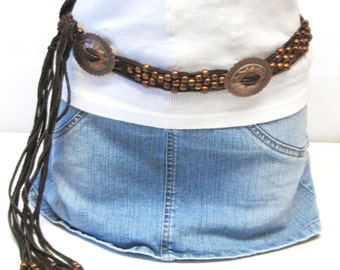 Fringed Leather Belt Western Copper Conchos  Beads