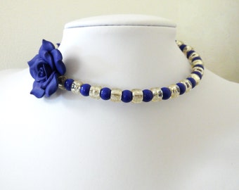 Day of the Dead Necklace Choker Rose Blue Silver