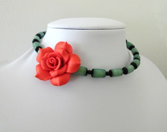 Day of the Dead Necklace Choker Rose Green Red