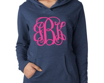 Navy Monogrammed Sweatshirt - Personalized Hoodie - Women's French Terry - Front and Hood Monogram