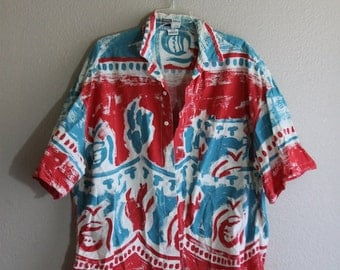 mens XL india red white and blue ethnic button up