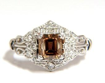 1.39ct Natural Fancy Brown Emerald Cut Diamond Ring VS2 Victorian Deco