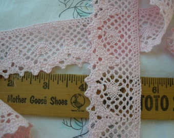 "Light Pink Cotton Cluny Lace trim 1.5"" wide scalloped & straight edge crochet look retro choose yards available in bulk yardage sewing"