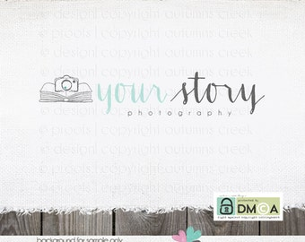 Photography Logo - open book pages camera premade logo design for photographer small business- logo for photographers lifestyle photography