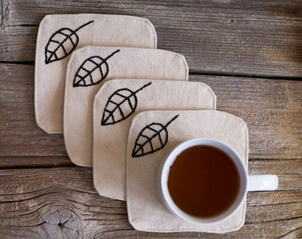 Black and White Coasters, with Hand Embroidered Leaves, a set of 4, Natural White Cotton, Nature Inspired Home Decor, Tableware, Dinnerware