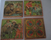 Wooden Coasters Lions Children Circus Decor Set of 4
