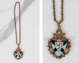 Art deco necklace/ brass jewelry/ enamel coat of arms