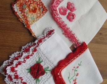 SALE, SALE, SALE!  Set of 4 Vintage Hankies--Crochet Edge Hankies
