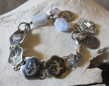 Assemblage Jewelry Religious Metal Repurposed Recycled Upcycled Jewelry Art Deco Bracelet