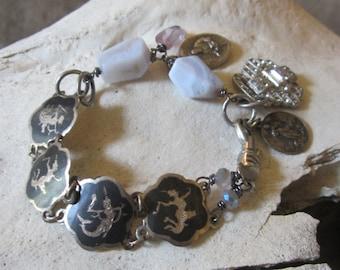 Assemblage Jewelry Religious Metal Repurposed Siam Sterling Bracelet